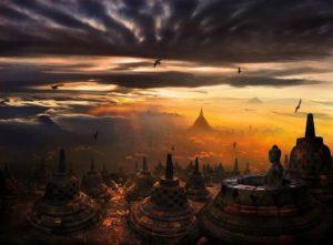 Закат в храме Боробудур