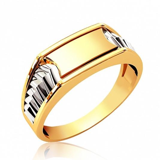Золотая печатка с накладками из белого золота