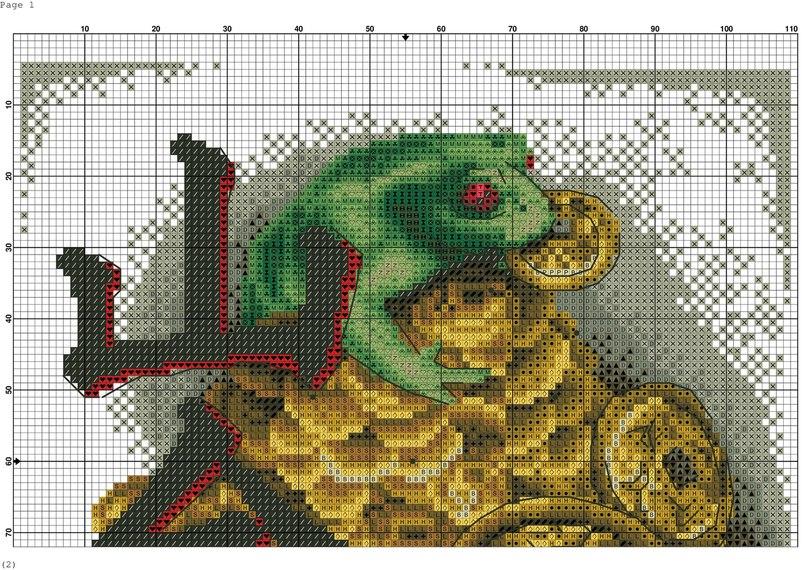 Схема для вышивки трехногой жабы с монеткой