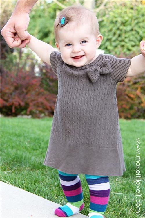 Платье из старого свитера для девочки