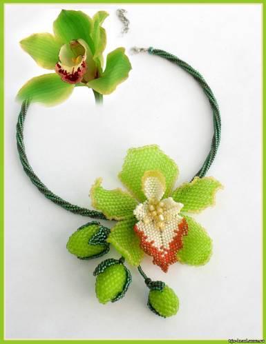 Колье орхидея из бисера мастер класс