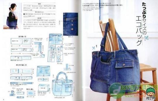 Выкройка сумку из джинсы