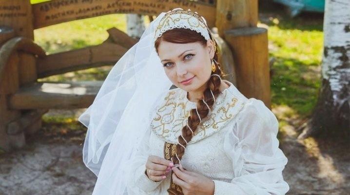 Невеста в платье в русском стиле