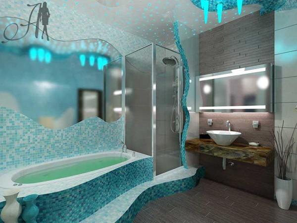 Красивая ванна с мраморной столешницей