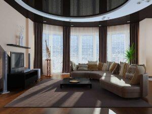 оформление шторами гостиной с эркером